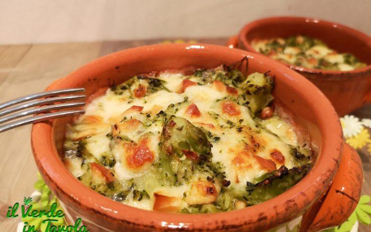 Broccoli al forno con scamorza affumicata e gorgonzola la ricetta