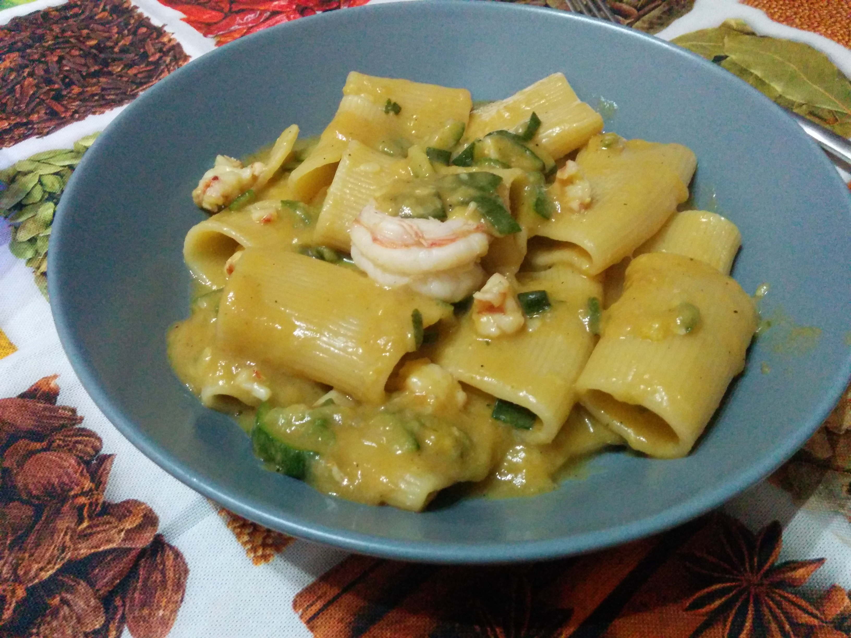 Paccheri gamberoni e zucchine