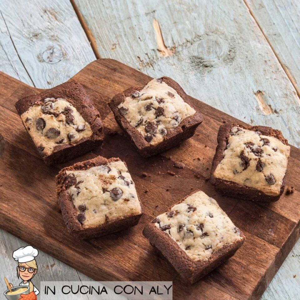 Brownies con gocce di cioccolato