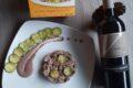 Gnocchetti di pizzoccheri con zucchine su salsa al radicchio