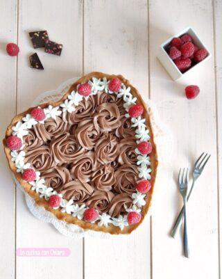 crostata cioccolato e lamponi senza burro
