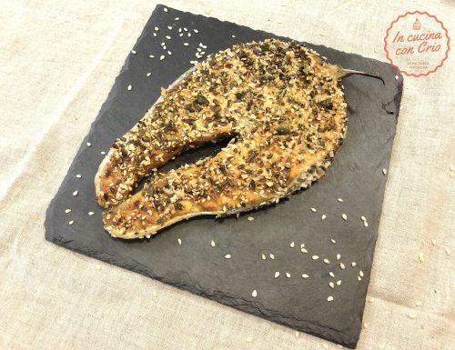Tranci di salmone con panatura di semi al forno