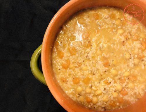 Zuppa cereali quinoa ceci e zucca