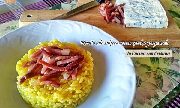 Risotto allo zafferano con gorgonzola e speck