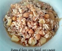 Zuppa con farro, orzo, fagioli, ceci e patate
