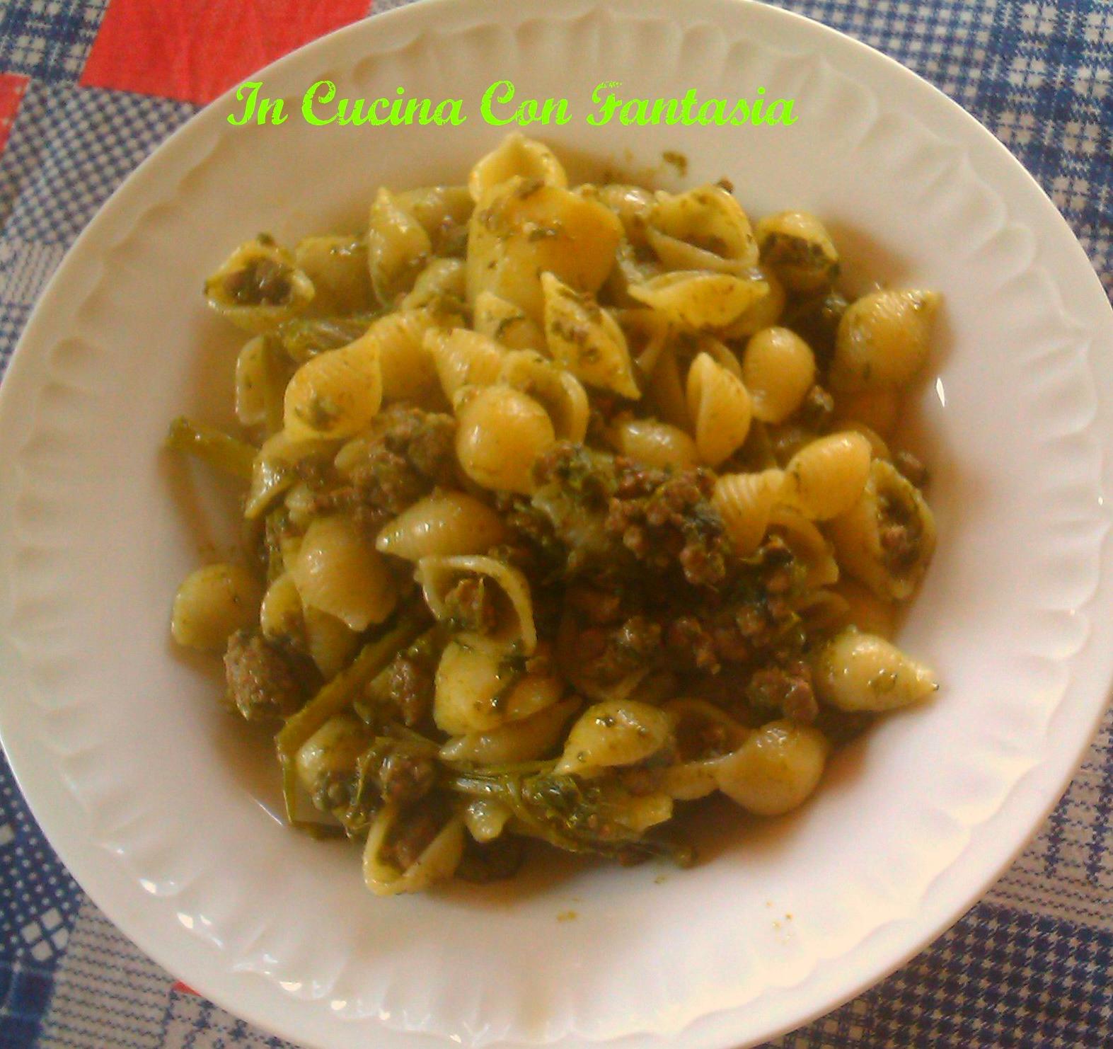 conchiglie con cime di rapa,carne macinata e patate 1