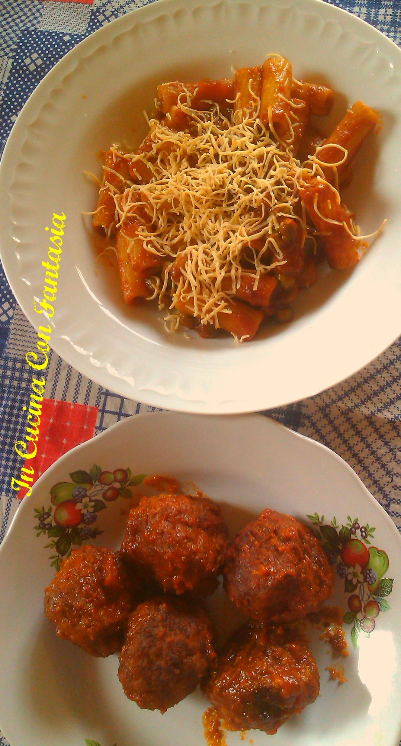 maccheroni con polpette in salsa 1