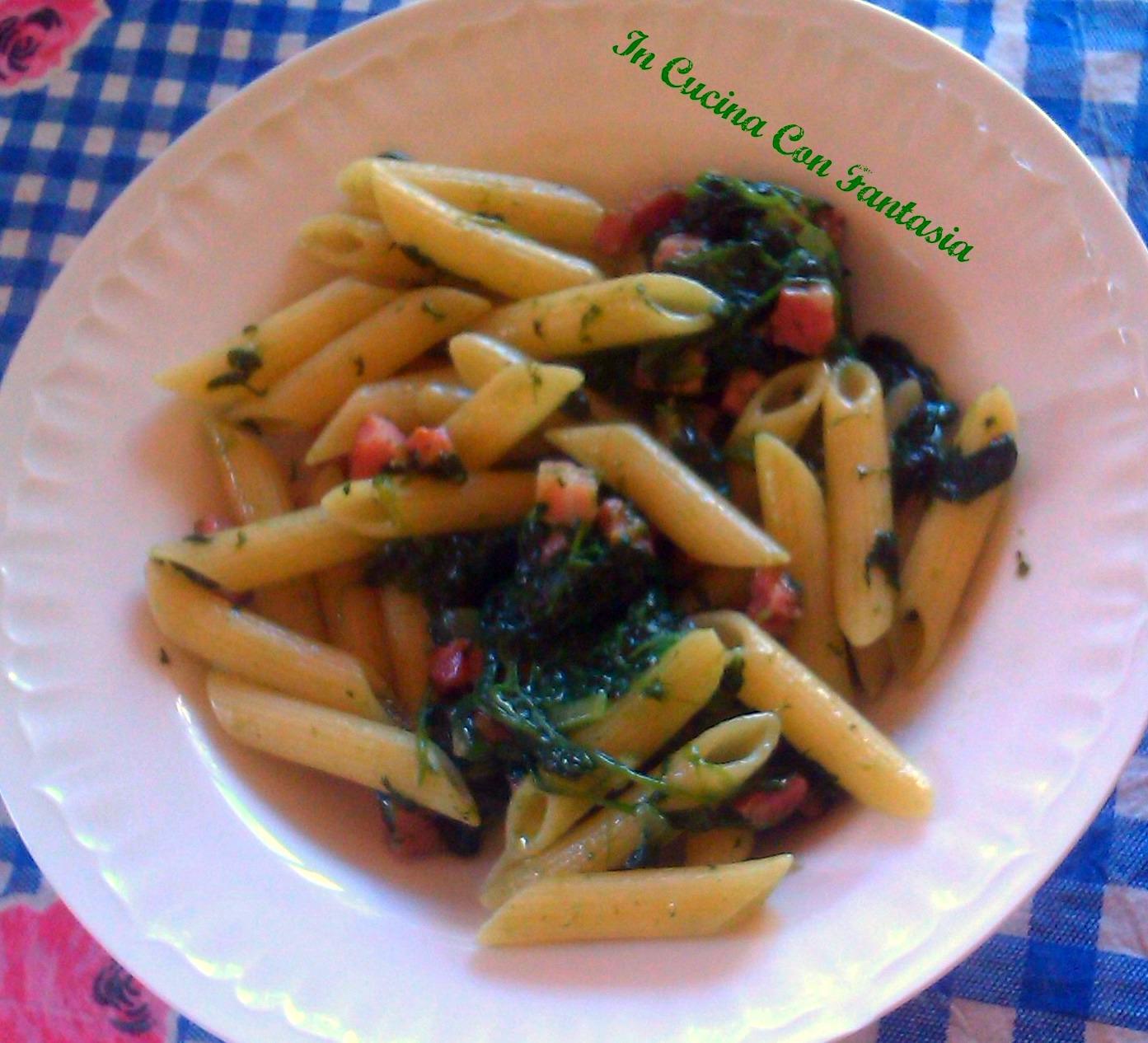 pennette spinaci e pancetta 1
