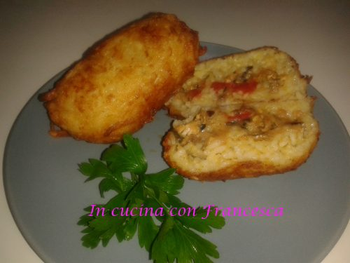 Arancini in crosta di patate al sapore di mare