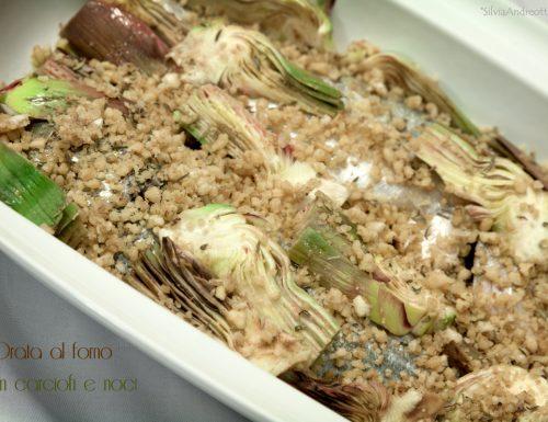 Orata al forno con carciofi e noci
