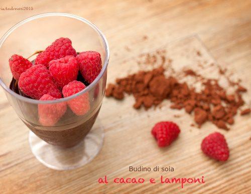 Budino di soia al cacao e lamponi