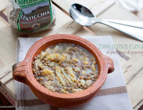 Zuppa di verze e lenticchie di Castelluccio di Norcia al profumo di porcini