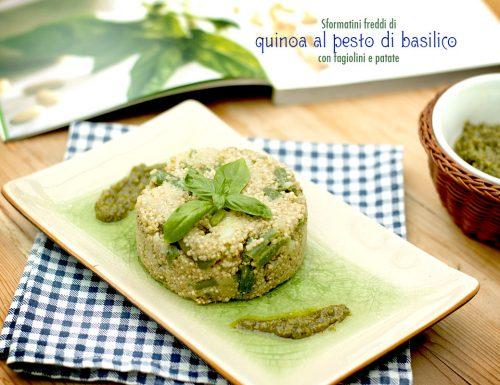 Sformatini freddi di quinoa al pesto di basilico con fagiolini e patate