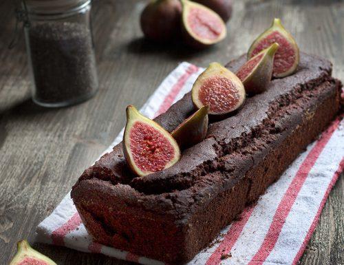 Plum cake ai fichi interi con cacao e mandorle, senza burro, uova, glutine e derivati del latte
