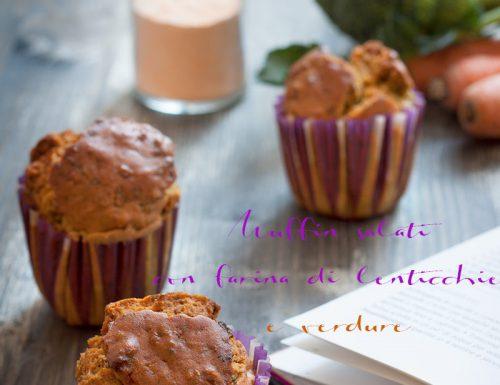 Muffin salati con farina di lenticchie rosse, curcuma e verdure