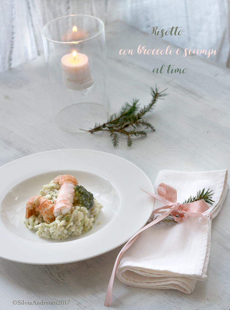 risotto con broccoli e scampi
