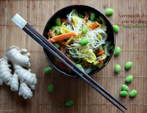 Vermicelli di riso con verdure, soia edamame e zenzero #glutenfree