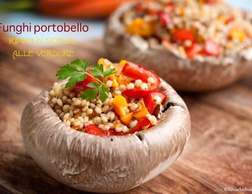 Funghi Portobello ripieni di sorgo alle verdure, #vegan #gluten-free