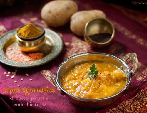 Zuppa ayurvedica di zucca, lenticchie rosse e patate con curcuma e spezie + i 6 sapori in Ayurveda