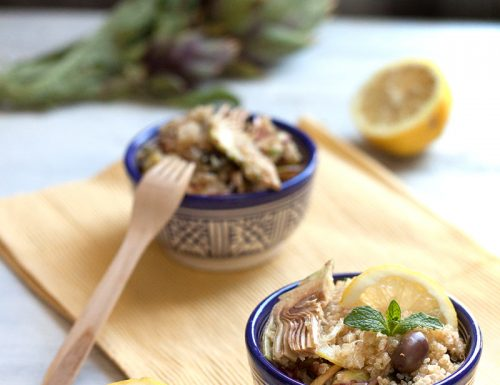 Insalata tiepida di quinoa, carciofi, limone e alga wakame, #glutenfree #vegan #bassoIG