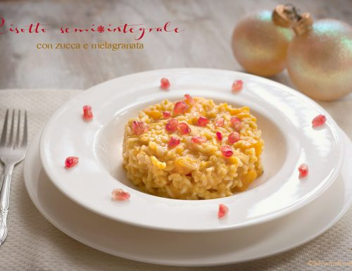 Risotto semi-integrale con zucca e melograno #vegan #glutenfree