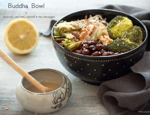 Buddha bowl di broccoli, ceci neri, carciofi crudi e riso selvaggio con dressing di tahin #vegan #gluten-free #senzalatte