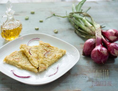 Farinata di fave (o favetta rivisitata) con cipollotto, #vegan #glutenfree