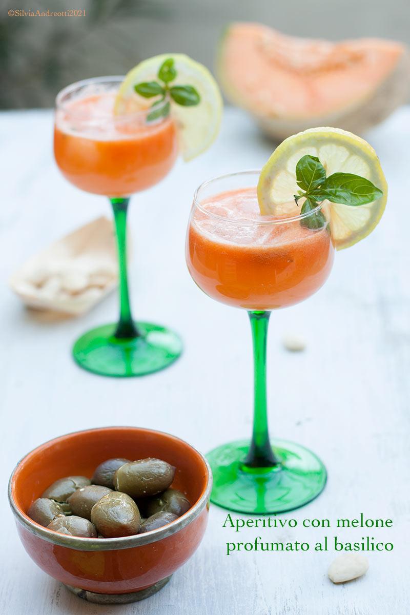 aperitivo vitaminico con melone e carota profumato al basilico