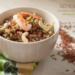 Riso rosso con pesce, zucchine profumate al basilico, ed anacardi #glutenfree