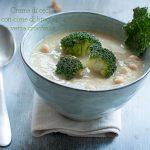 Crema di ceci con cime di broccoli e verza croccante