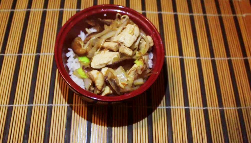 pollo con funghi appoggiato su riso