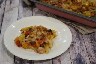 pasta al forno peperoni e pancetta