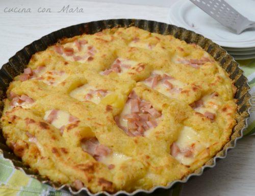 Crostata di patate con prosciutto e formaggio