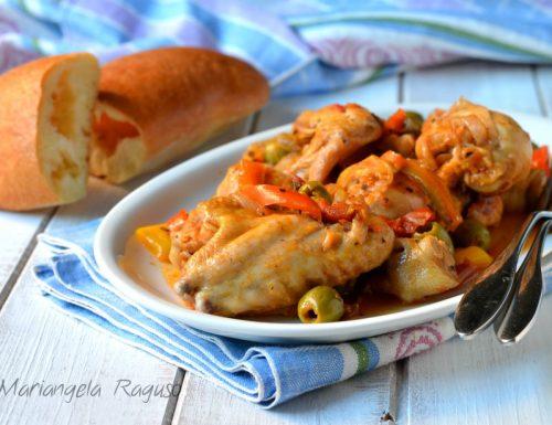 Pollo con peperoni e olive