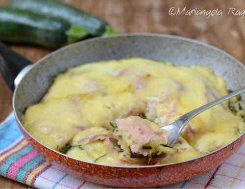 Zucchine prosciutto e fontina in padella