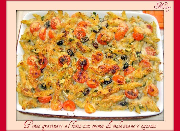 Pasta al forno con crema di melanzane e caprino