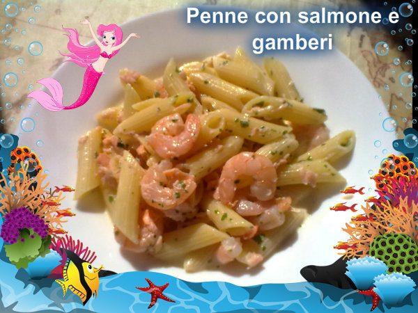 Penne con salmone e gamberi, ricetta di mare