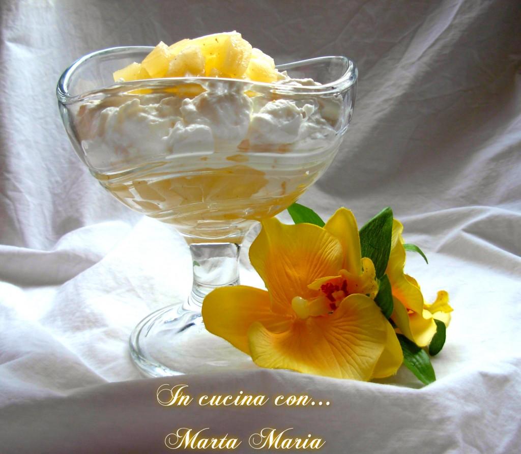 dessert di ricotta e ananas