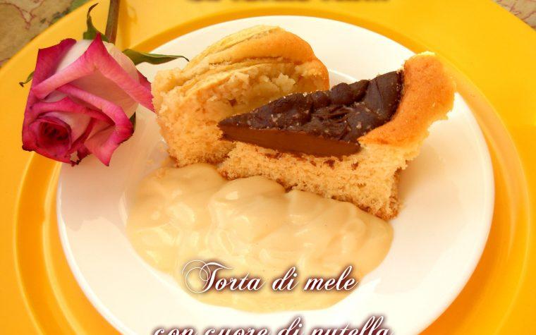 TORTA DI MELE CON CUORE DI NUTELLA, ricetta facile