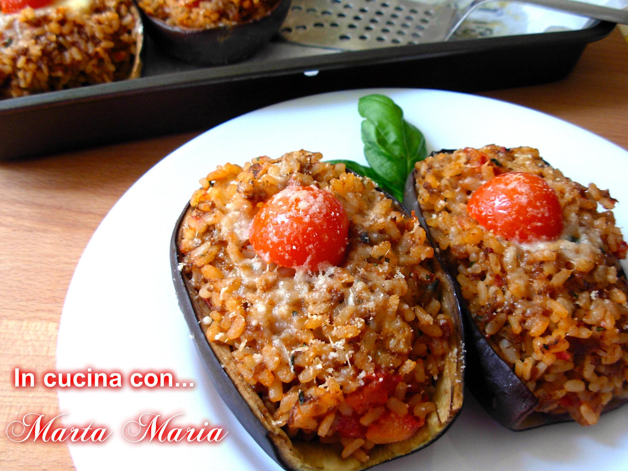 melanzane ripiene di riso, ricetta facile - in cucina con ... - Come Cucinare Le Melanzane Ripiene