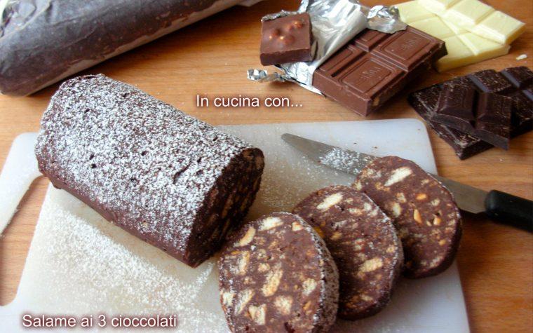 Salame ai tre cioccolati, senza uova e burro