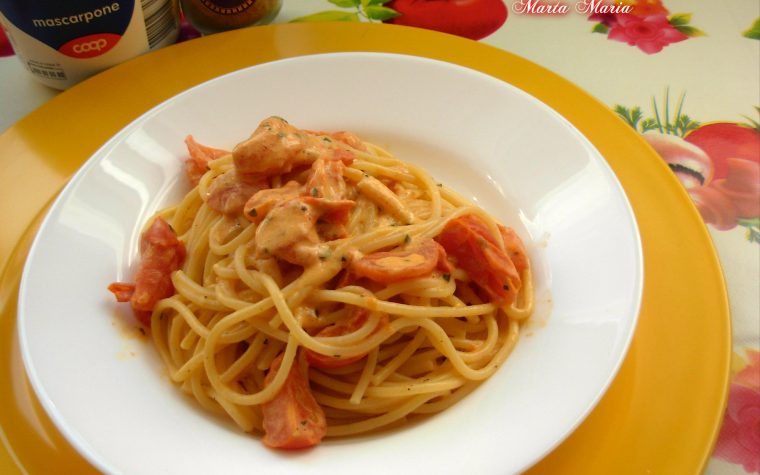 Spaghetti pomodorini curry e mascarpone