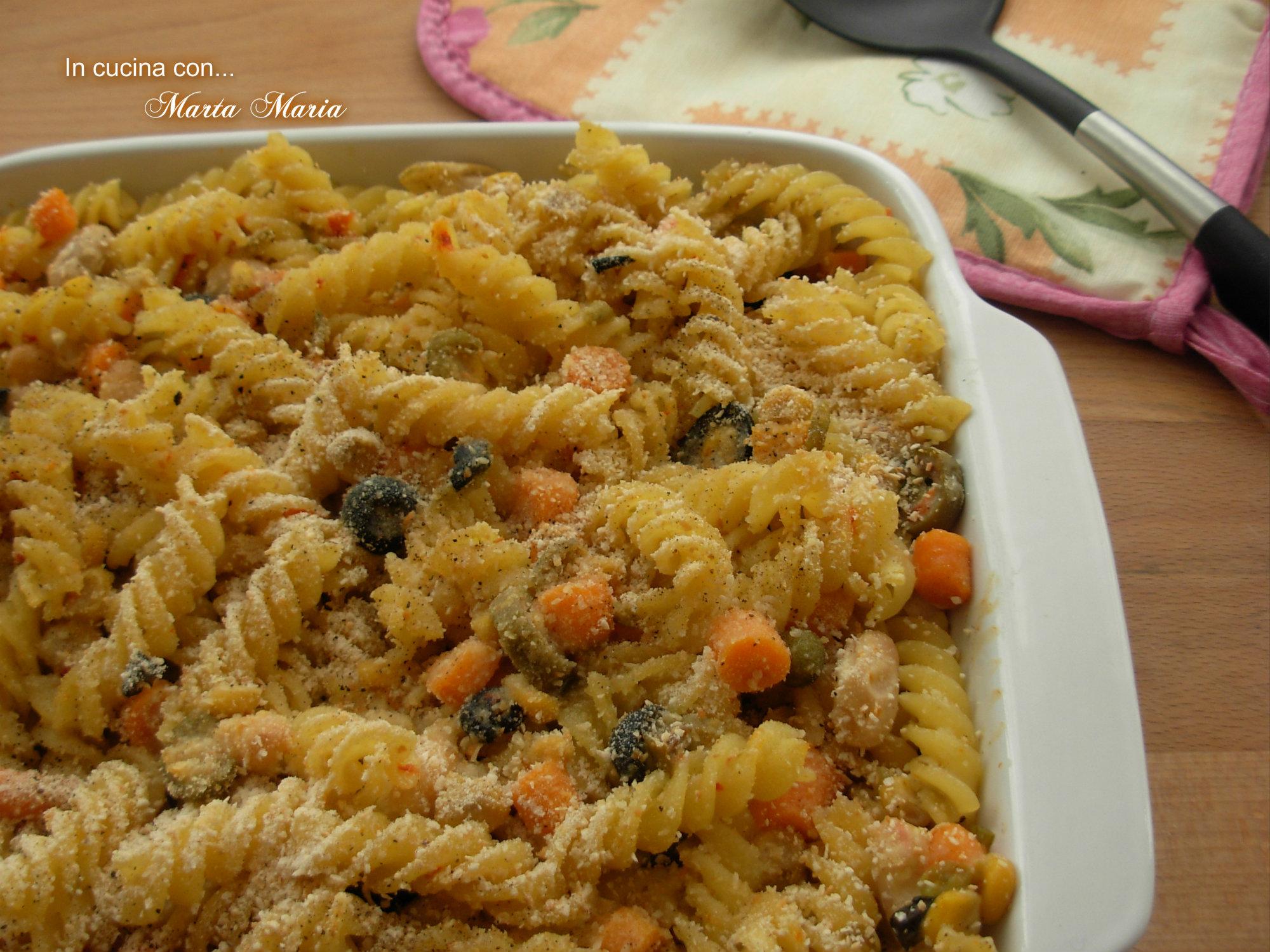 FUSILLI GRATINATI ALLE VERDURE, ricetta al forno