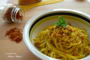 Spaghetti al tonno con zafferano e menta