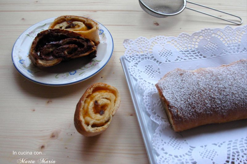 Rotolo dolce di pan brioche con uvetta e confettura