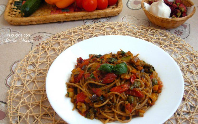 Spaghetti integrali con verdure, ricetta light