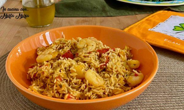 Riso basmati con peperoni e gamberetti, ricetta light
