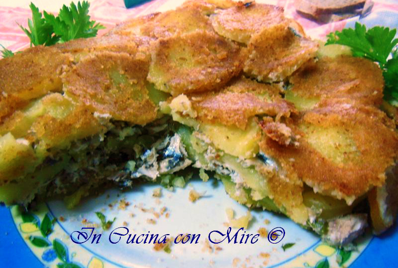 Tortino alici e patate al forno