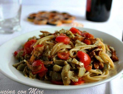 Spaghetti integrali funghi e carciofi