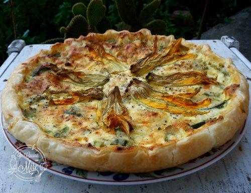 Torta salata zucchine ricotta e fiori di zucca